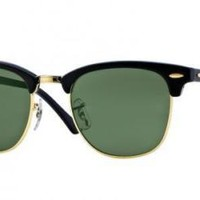 Ray Ban Sunglasses Clubmaster RB3016 W0365 Black Gold Frames Green Lens 51mm