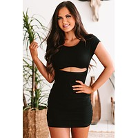 Forgive & Forget Ribbed Cut-Out Bodycon (Black)