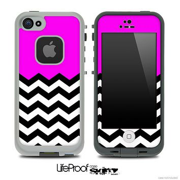Hot Pink Black and White Chevron Pattern V3 Skin for the iPhone 5 or 4/4s LifeProof Case