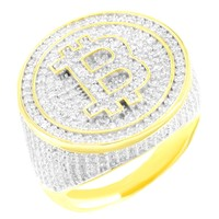 Iced Out Bitcoin Design 14k Gold Finish Custom Ring