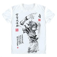 Anime T-Shirt cosplay New Summer Anime T shirt One Piece Luffy Cosplay T-shirt Ink painting Animation protagonist Tops Tees Men/women t-shirt AT_57_4