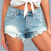 Loving Good Vibrations Medium Wash Distressed Denim Shorts