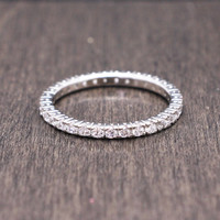 925 sterling silver stackable eternity band ring with pave cubic zirconia