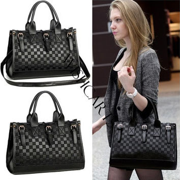 Women's Grid Bag Checker Board Synthetic Leather Handbag Shoulder Bag (Color: Black) [10198329031]