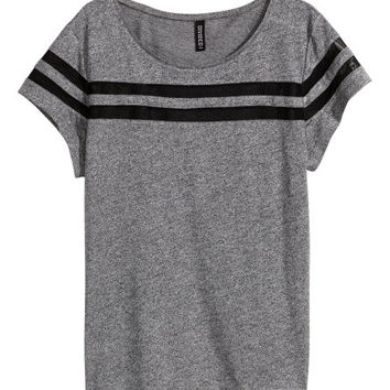 Top with Mesh Trim - from H&M