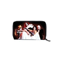 Tim Curry as Dr. Frankenfurter as well as Magenta, Rocky Horror, Columbia and Riff Raff in the 1975 film Rock Horror Picture Show highly detailed graphic on a wallet with full zip closure, bill fold, multiple card slots, clear ID holder and change pocket.
