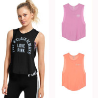 Casual Loose Pink Print Sports Street Top Vest T Shirt In 3 Colors