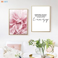 Quote Print Pale Pink Peonies Flower Poster Wall Art Modern Nordic Canvas Painting Living Room Home Decor