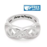 """Daughter Gift - Infinity Promise Daughter Ring Engraved on Inside with """"Always My Daughter"""", Sizes 6 to 9"""