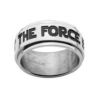 Star Wars Stainless Steel ''May The Force Be With You'' Spinner Band - Men (Grey)