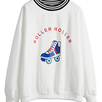 White Striped Roller Skating Printed Sweatshirt