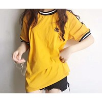 KAPPA 2018 new color string retro couple short sleeve casual personality short sleeve F-CY-MN Yellow