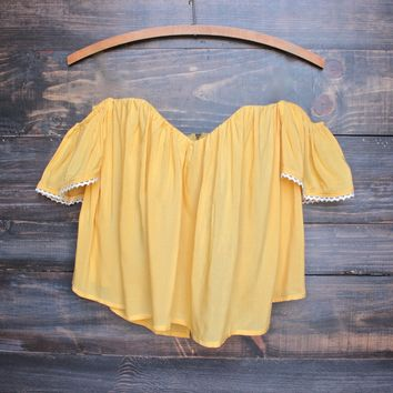boho chic off the shoulder crop top - mustard