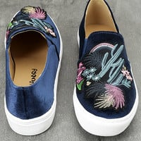 Dirty Laundry Jiana Blue Velvet Embroidered Slip-On Sneakers