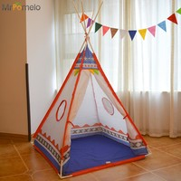 MrPomelo Toy Tents Indoor Indian Ball Pool for Kids Tipi Outdoor Folding Toys Tent Children Teepee Play House with Color Flag