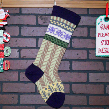 Purple Christmas Stocking, Hand Knit with Herringbone Design in Soft Fern Green and Taupe and Trees, Fair Isle, can personalize, Gift Idea