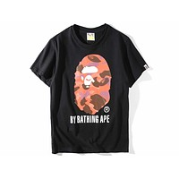 BAPE summer new camouflage printing couple casual short-sleeved T-shirt F-A-KSFZ black