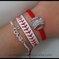 Sports Rhinestone Sparkly Baseball or Softball Woven Bracelet, Leather Bracelet and Rhinestone LOVE Stretch Bracelet Set
