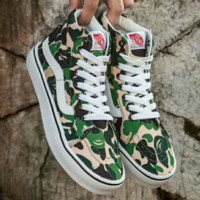 VANS X Aape camouflage green Classic Canvas Leisure Shoes G-A-GHSY-1