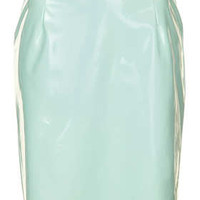 Tab Detail Vinyl Pencil Skirt - Mint