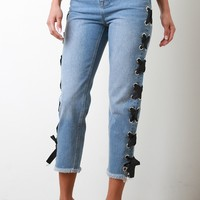 Side Eyelet Ribbon Lace-Up Boyfriend Denim Jeans