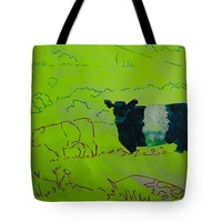 """Belted Galloway Cow on Dartmoor Illustration Tote Bag for Sale by Mike Jory (18"""" x 18"""")"""