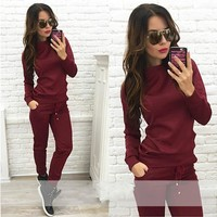 Women Brand Tracksuit 2 Piece Outfit Set Sweatshirt+Long Pants 2017 Casual Sweatsuit Female Track Suit Fitness Costumes