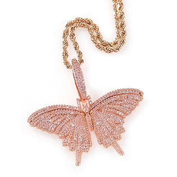 Hip Hop Butterfly Pendant Copper Necklace