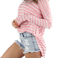 Long Sleeve Striped Comfy Tunic - Pink/White