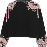 Ribbon Blossoms Printed Cropped Sweatshirt