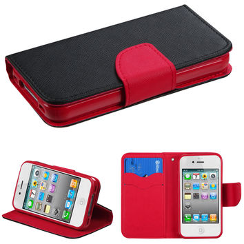 Book-Style Liner Wallet Flip Cover for iPhone 4 / 4S - Black/Red