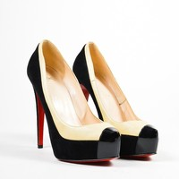 KUYOU Black and Nude Christian Louboutin Leather Suede  Mago  Platform Pumps