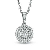 1/4 CT. T.W. Diamond Cluster Pendant in Sterling Silver
