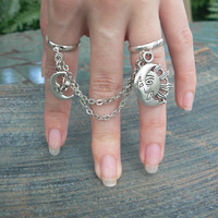 celestial  double ring chained slave ring star sun moon goddess