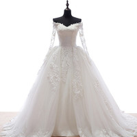 Hot Selling V- Neck Long Sleeve Lace Appliques Ball Gown Wedding Dress vestidos novias wedding dress long sleeve