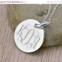 Fall Sale Monogramed Silver Pendant - Personalized Jewelry - Engraved Pendant - Personalized Necklace - Monogram Pendant