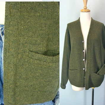 Vintage Grandpa Cardigan Sweater Army Green Slouchy Fit L