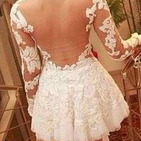White Lace Sleeve Backless Mini Dress