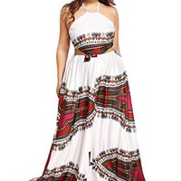 Women's Fit and Flare Plus Size Lace Up Backless Maxi Dress