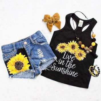 Sunflower Vest Tank Top+Short Pants Cute Outfits For Girl