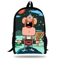 16-Inch Fashion School Bag Cartoon Backpacks Child Uncle Grandpa Backpack For Kids Bags Girls Backpack For Boys Teenagers