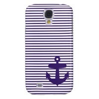 Navy Anchor with Blue Breton Stripes Galaxy S4 Cases from Zazzle.com