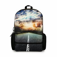 MagicPieces Highroad and Sunset Print Canvas School Bag Travel Backpack 042309 Z0504
