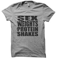 Sex Weights Protein Shakes T-Shirt - workout t-shirt exercise lifting sun  beach hoodie summertime ladies vacation tank tshirt