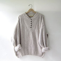vintage slouchy sweater. oversized oatmeal sweater. henley pullover shirt.