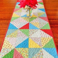 Quilted Table Runner , Vintage Style , Cottage Shabby Chic, Yellow Blue Red and Green , Summer Table Quilt , Flowers Runner , Sunny Days