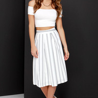 JOA Line Drive Black and Ivory Striped Midi Skirt