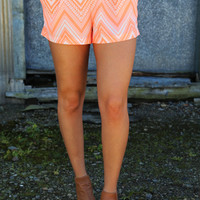 Neon Orange Chevron Shorties