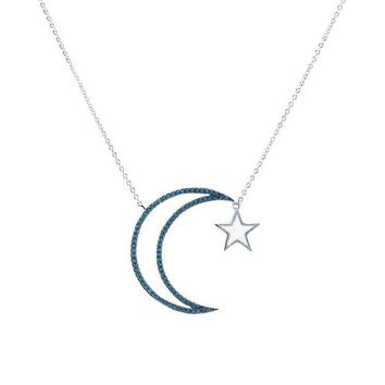 Kinzane CZ Turquoise Moon and Star Silver Pendant Necklace