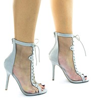 398 See Through Mesh High Ankle Bootie w Corset Combat Lace Up & Peep Toe